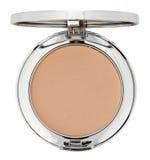 Make-up brown powder in metal box Stock Photos