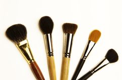 Make up brush. Five make up brush isolated on white background stock image