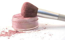 Make-Up Brush in Blush Powder Stock Images