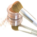 Make-Up Brush in Blush Powder Mirrored Stock Photos