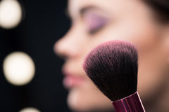 Make-up brush with blusher Royalty Free Stock Photography