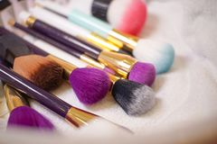 Make up brush Collection colorful. Colorful shade Stock Image