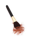 Make-up brush and colors. Isolated blush brush and powder Royalty Free Stock Photos