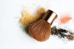 Make up brush with cosmetics powder. stock images