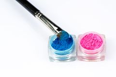Make-up brush and eye shadow palette Stock Photo