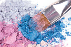 Make-up brush on  eyeshadows Royalty Free Stock Photography
