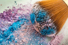 Make up brush with icecream colour shades. Zoom look Make up brush with pink , purple and blue shades Stock Images