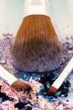 Make up brush with icecream colour shades. Zoom look Make up brush with pink , purple and blue shades Stock Photo