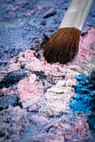 Make up brush with icecream colour shades. Zoom look Make up brush with pink , purple and blue shades Royalty Free Stock Photo