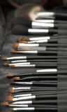 Make-up brush kit. In a row Royalty Free Stock Images