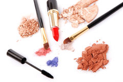 Make-up brush, lipstick and different powder Royalty Free Stock Photos