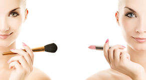 Make-up brush and lipstik Stock Image