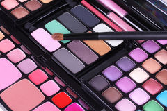 Make up brush on make-up eyeshadows set Stock Photography