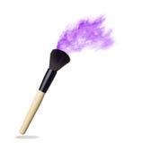Make up brush with pink  powder   on white Stock Photos
