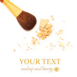 Make-up brush and powder Stock Photo