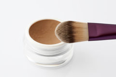 Make up brush and powder Stock Photo