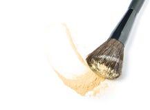 Make-up brush and powder. Isolated on white background Stock Photos