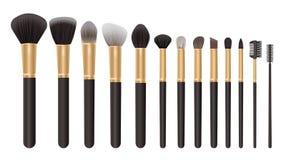 Make up brush set, cosmetics background Stock Image