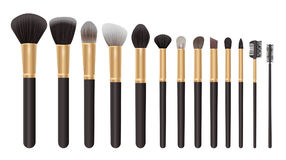 Make up brush set, cosmetics background vector illustration