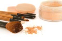 Make-up brush set and facial powder Royalty Free Stock Photos