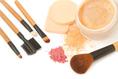 Make-up brush set and facial powder Stock Images