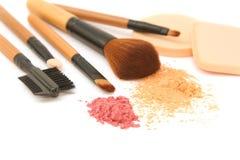 Make-up brush set and facial  powder Royalty Free Stock Photography