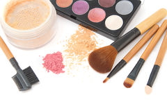 Make-up brush set and facial powder. Make-up brush set and facial  powder isolated Stock Photos