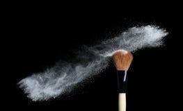 Make up brush with white powder  isolated on white Stock Photography