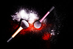 Free Make-up Brush With White Powder Spilled Glitter Dust On Black Background. Makeup Brush On New Year`s Party With Bright Colors. Royalty Free Stock Photo - 83722335