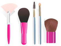 Make-up brushes. Set of five different make-up brushes. Linear and radial gradients only Royalty Free Stock Image