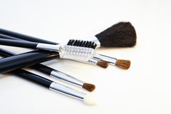 Make-up brushes. Close-up view of make-up brushes on white background Stock Photo