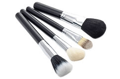 Make-up brushes. Some different kind of make-up brushes on white Stock Images