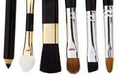 Make-up brushes. Set of cosmetic brushes isolated on white background royalty free stock image