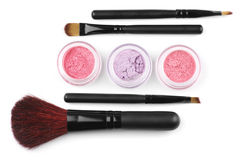 Make-up Brushes And Eye Shadows Stock Photos