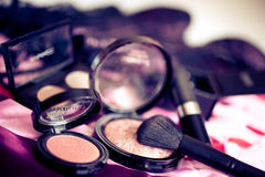 Make up brushes and blush Stock Photography
