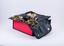 Make up brushes on a box with a leopard cloth Royalty Free Stock Photos