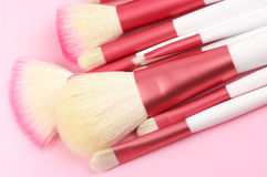Make-up brushes close-up Stock Photos