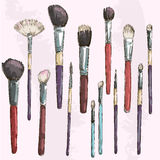 Make up brushes collection. Fashion illustration.  Stock Photo