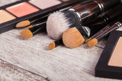 Make up brushes and cosmetic products Royalty Free Stock Image