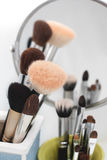 Make up brushes different size and colors Stock Photo