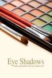 Make up brushes and eye shadows Royalty Free Stock Photo