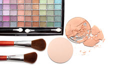 Make up - brushes and eye shadows palette Stock Photo