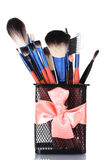Make-up brushes in holder Royalty Free Stock Image