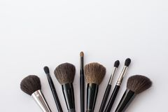 Make up brushes isolated on white. make up background. black brushes royalty free stock photography