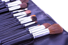 Make up brushes in leather case Royalty Free Stock Images