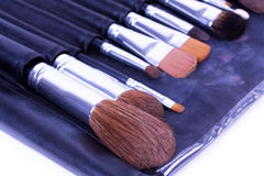 Make-up brushes in leather case Royalty Free Stock Images