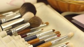 Make-up brushes in leather case, close-up. Makeup brushes in leather case. Various makeup brush set close-up. Makeup brush set stock video