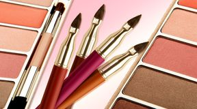 Make up brushes with make up Stock Photography