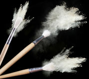 Make up brushes with powder Royalty Free Stock Photography
