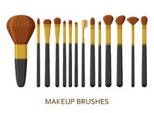 Make up brushes set. Cosmetic icons collection. Vector illustration royalty free illustration